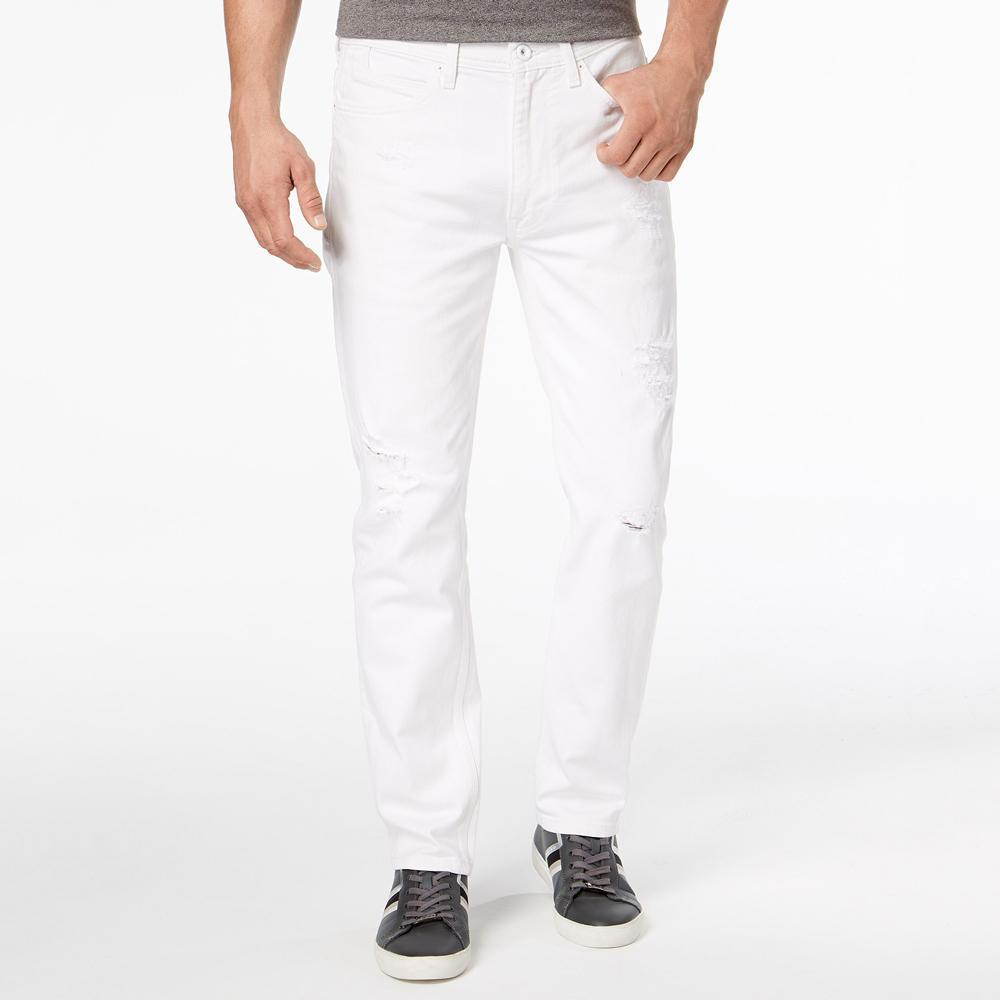 SNJ Minor Fault Distressed White Party Athlete Relaxed Tapered-Fit Stretch Denim Minor Fault SRK 30 30