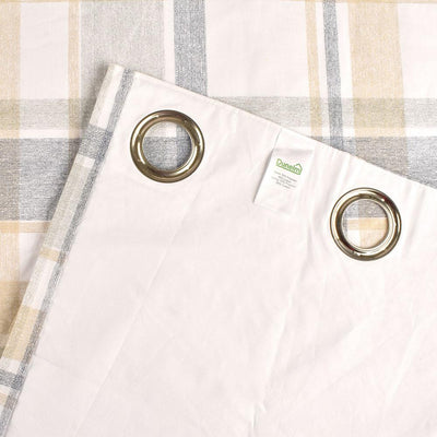 Dunelm Check Woven Lined One Piece Eyelet Curtain Curtain MB Traders