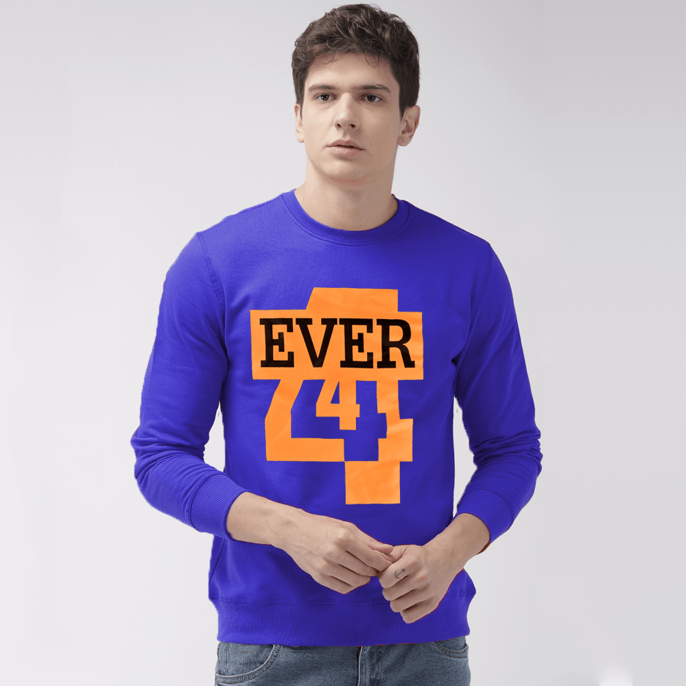EGL Men's Forever Printed Fleece Sweat Shirt Men's Sweat Shirt Image Royal S