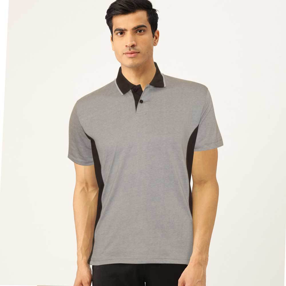 Poler Men's Contrast Panel Polo Shirt Men's Polo Shirt IBT Slate Grey & Black S