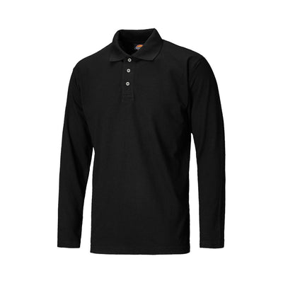 DCK Solid Long Sleeve Pique Polo Shirt Men's Polo Shirt Image Black S