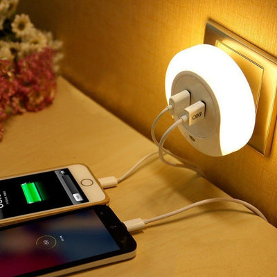 Led Night Light With Dual USB Wall Plate Charger