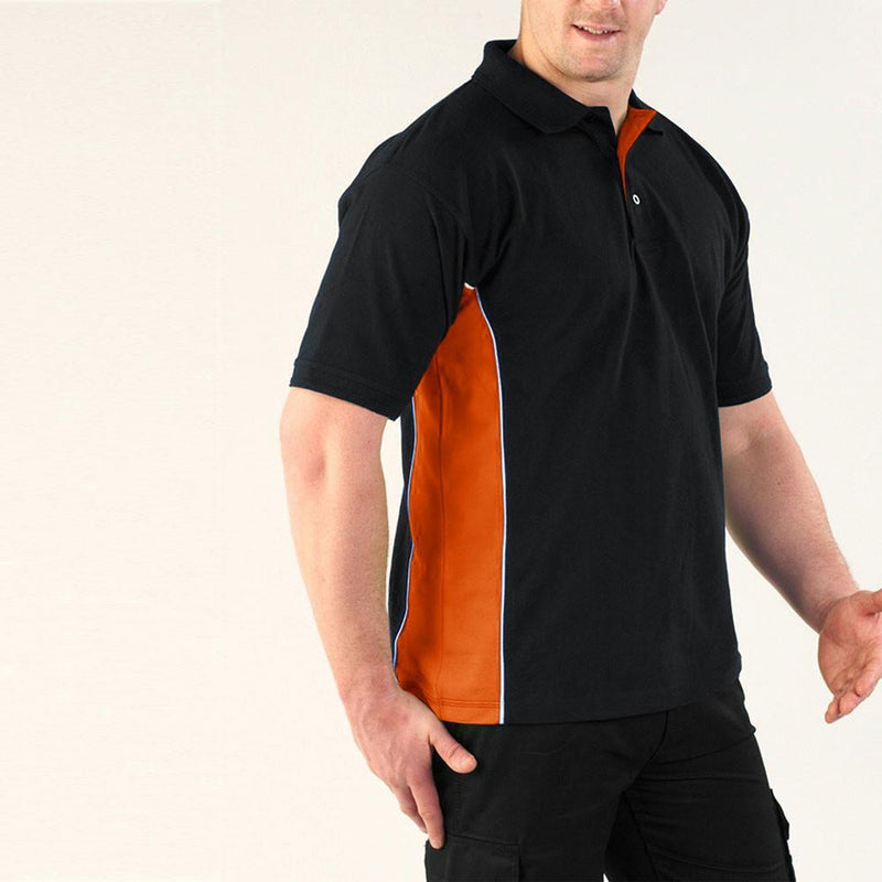 KNTS Men's Classic Contrast Panel Polo Shirt Men's Polo Shirt Image Navy Orange XXS