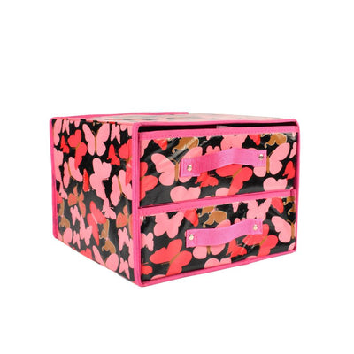 Butterfly Printed Design Two Compartments Storage Box