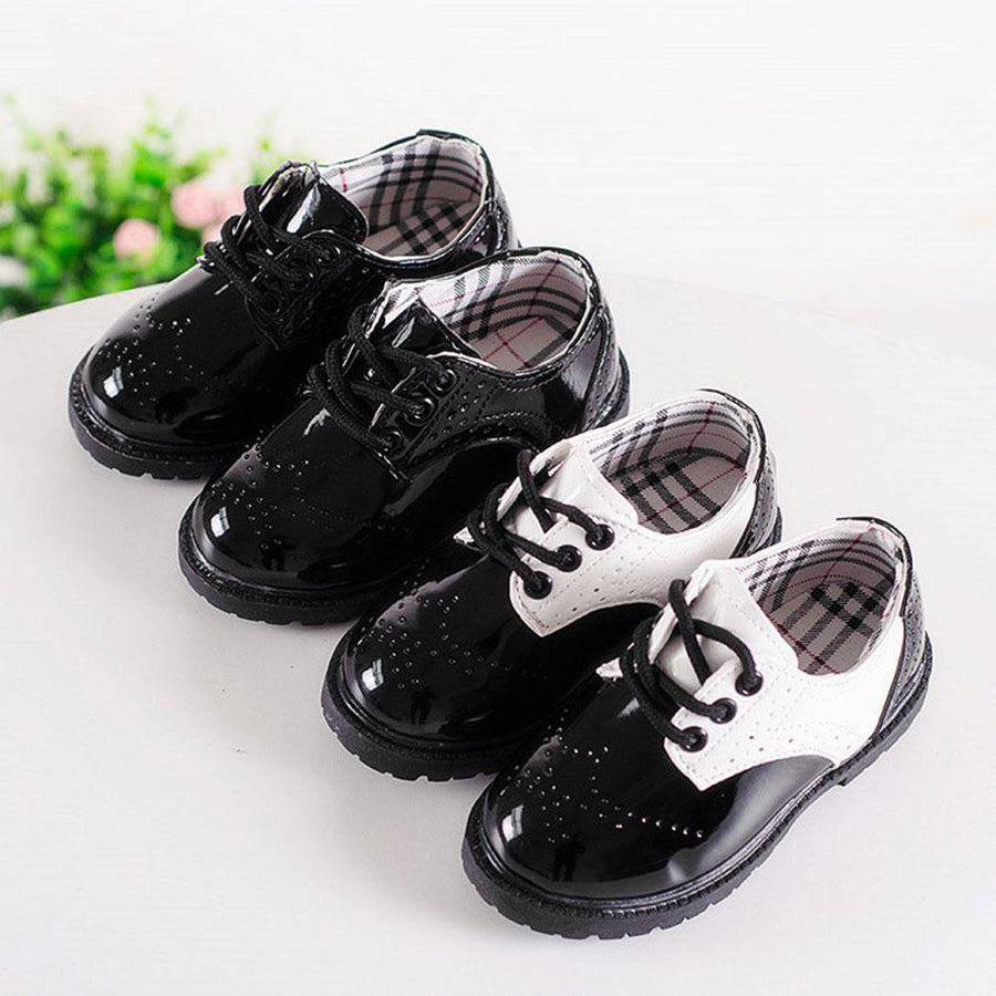 Lace Up Style Kids Patent Leather Formal Shoes
