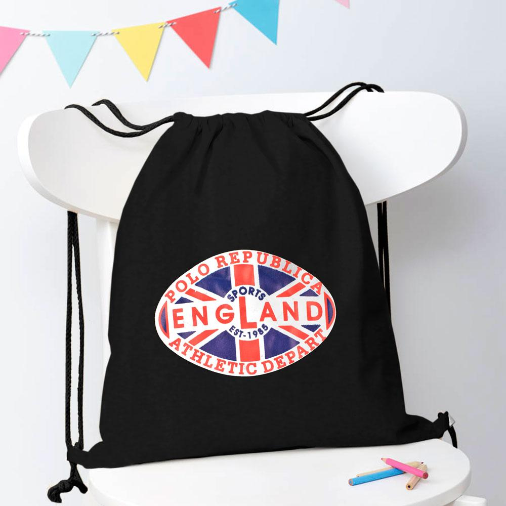 Polo Republica Sports England 1985 Drawstring Bag Drawstring Bag Polo Republica Black