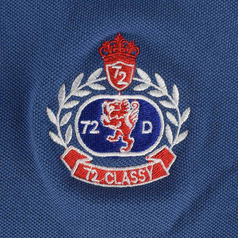 72D Men's Classy Embroidered logo Polo Shirt Men's Polo Shirt MAJ Blue S