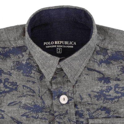 Polo Republica Boys Printed Chambray Casual Shirt Boy's Casual Shirt MAJ