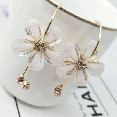 Long Paragraph Tassels Camellia Flower Crystal Earrings Jewellery Sunshine China White