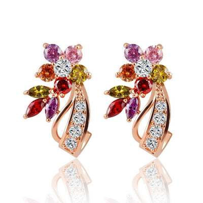 Crystal Flower Colorful Zircon Earrings