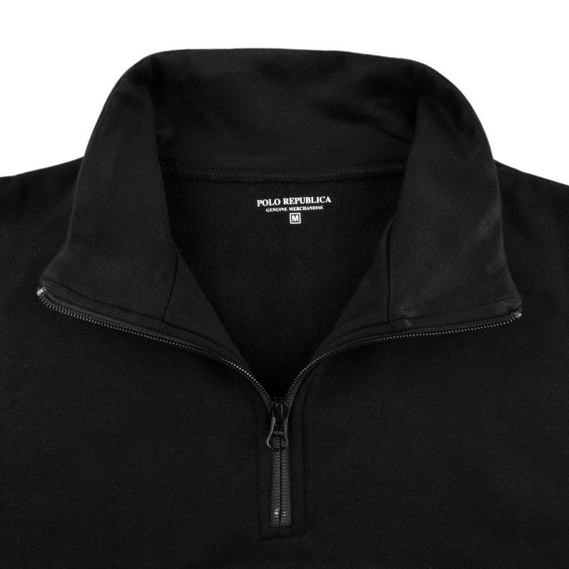 Polo Republica Men's Classic Brushed Fleece 1/4 Zipper Neck Sweat Shirt Men's Sweat Shirt Polo Republica Black S