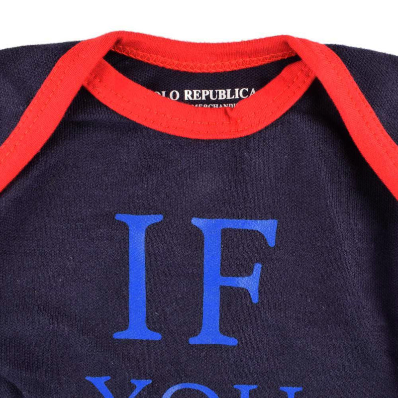 Polo Republica If You Can Short Sleeve Pique Baby Romper Babywear Polo Republica Navy Red 0-3 Months