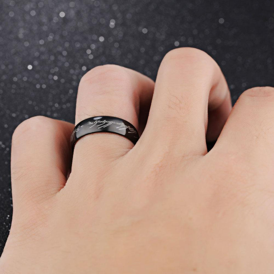 Titanium Steel Black Men's Ring