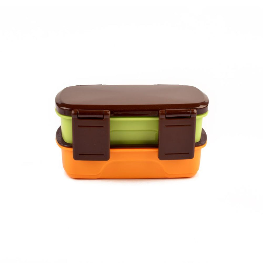 Double Decor Contrast Color Lunch Box With Chopsticks