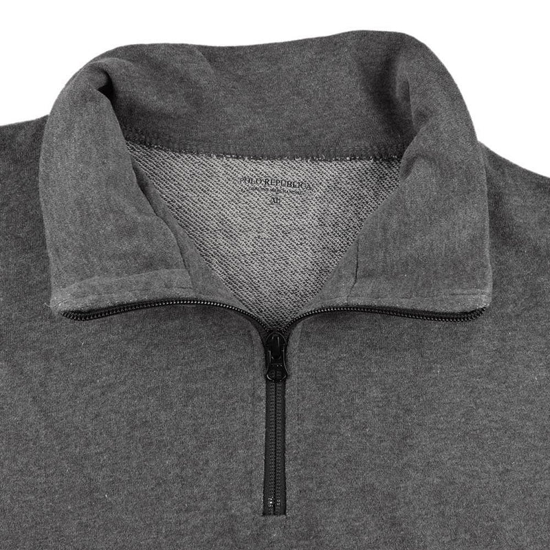 Polo Republica Men's Classic Terry 1/4 Zipper Neck Sweat Shirt Men's Sweat Shirt Polo Republica Charcoal S