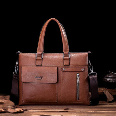 Jeep PU Leather Business Travel Shoulder Bag Laptop Bag Sunshine China Mustard