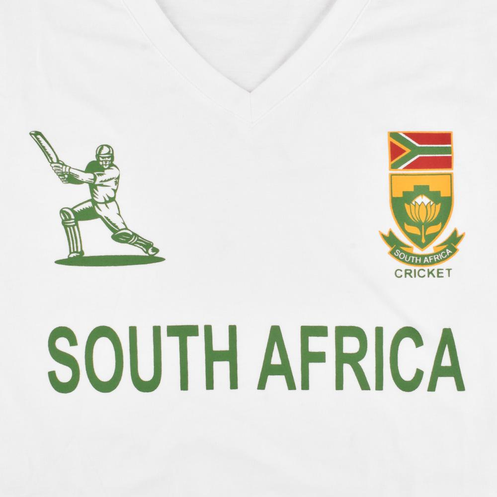 LE South Africa Cricket Men's V-Neck Tee Shirt Men's Tee Shirt Image White XS
