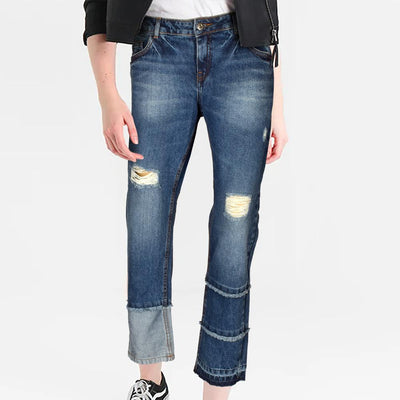 Cropp Women's Distressed Trendy Straight Fit Denim Women's Denim SRK 24 27