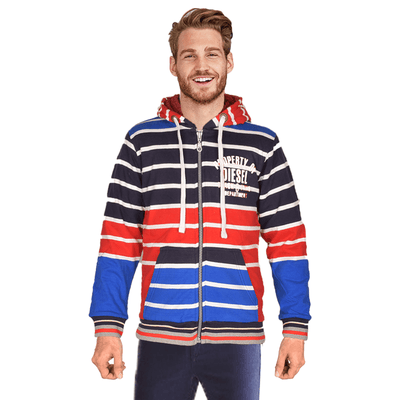 Diesel Ireland Men's Track & Field Depart SHERPA LINED ZIPPER HOODIE Men's Zipper Hoodie NMA Navy White S