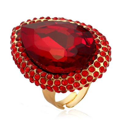 Exaggerated Crystal Opening Index Finger Ring Jewellery Sunshine China Red