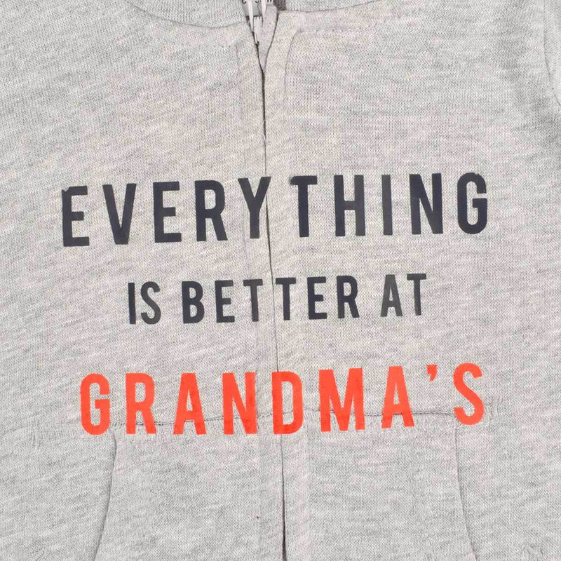 Everything Is Batter At Grandma's Fleece Full Body Romper Babywear Image Heather Grey Black 6-12 Months