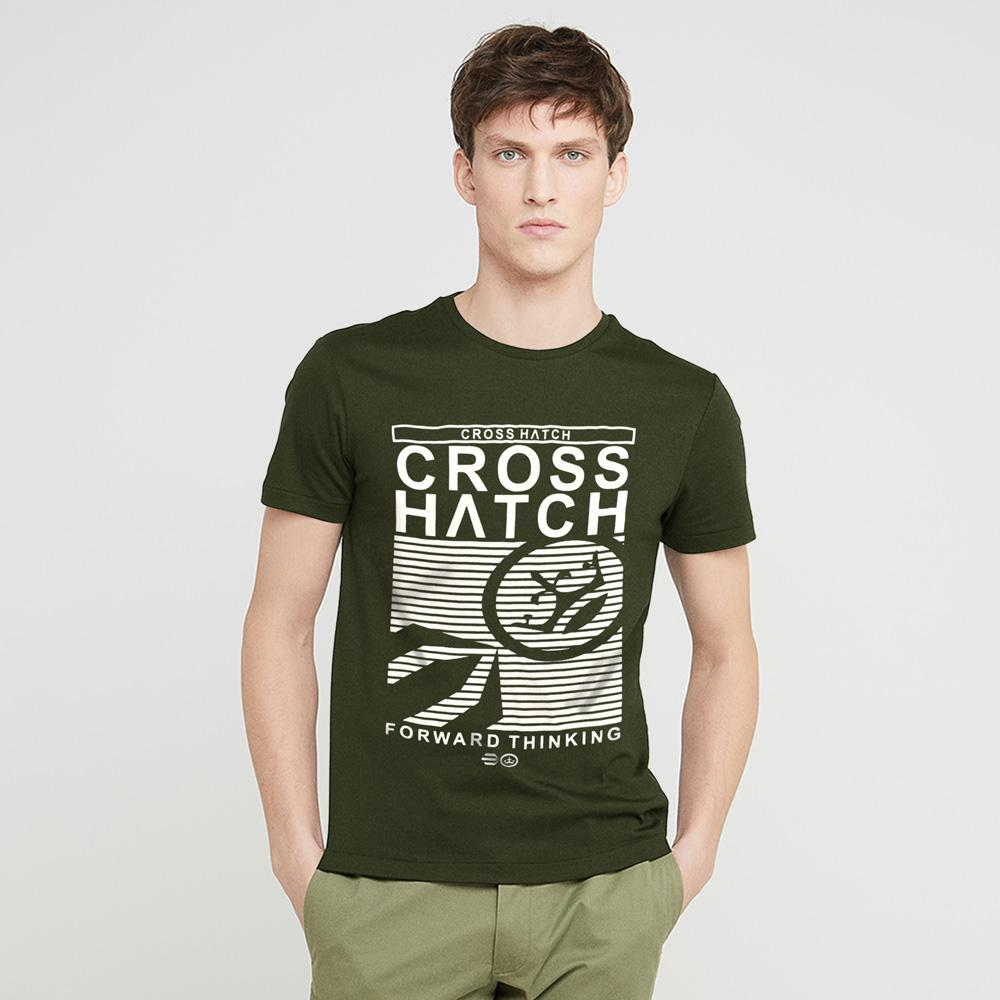 Cross Hatch Forward Thinking Short Sleeve Tee Shirt Men's Tee Shirt First Choice Olive White S