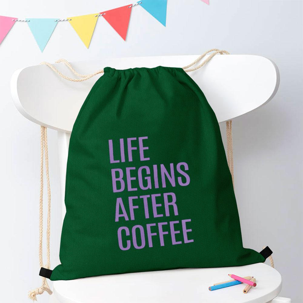 Polo Republica Life Begins After Coffee Drawstring Bag Drawstring Bag Polo Republica Bottle Green Purple