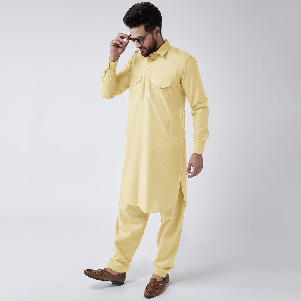 Velvour Shahjahan American Cotton Unstitched Suit Men's Unstitched Suit YTC Vanilla