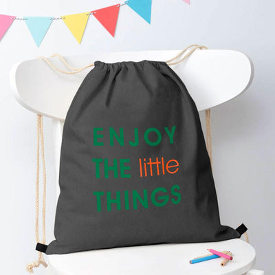 Polo Republica Enjoy Little Things Drawstring Bag Drawstring Bag Polo Republica Charcoal Green