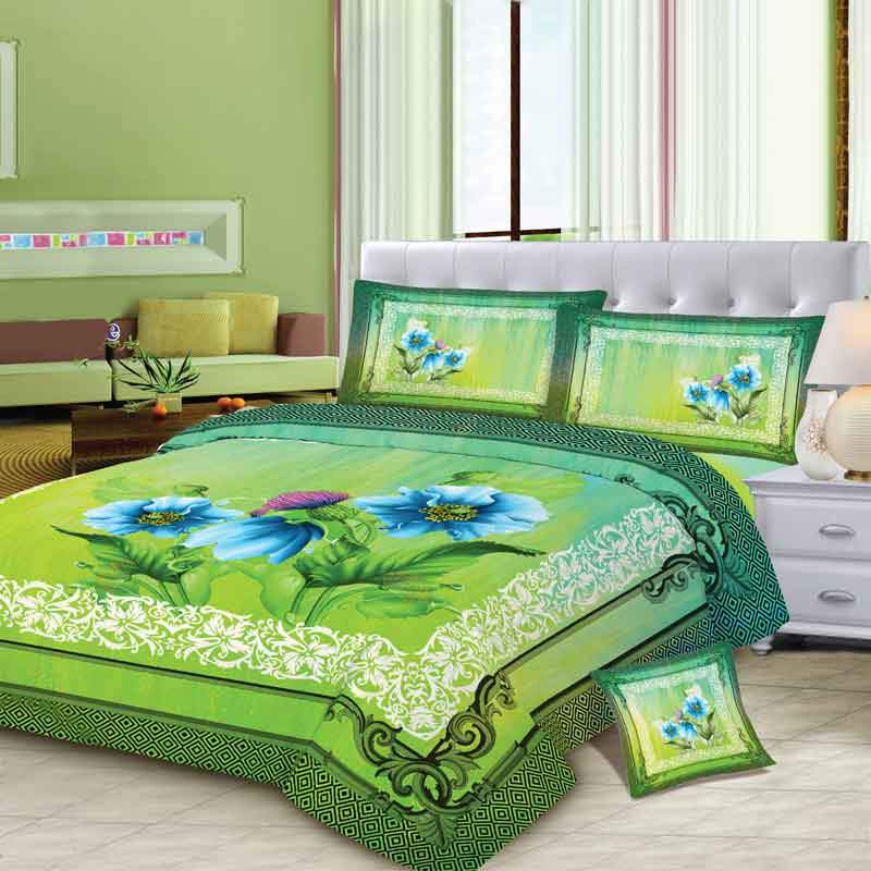 MGN Leafy Green 4 Pcs King Size Bed Sheet Set Bed Sheet MGN