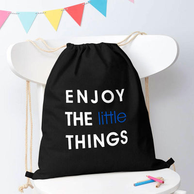 Polo Republica Enjoy Little Things Drawstring Bag Drawstring Bag Polo Republica Black White