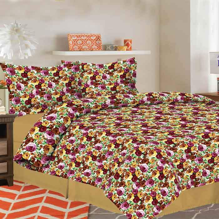 MGN Floral Imposed 2-PCS King Size Bed Sheet Set Bed Sheet MGN