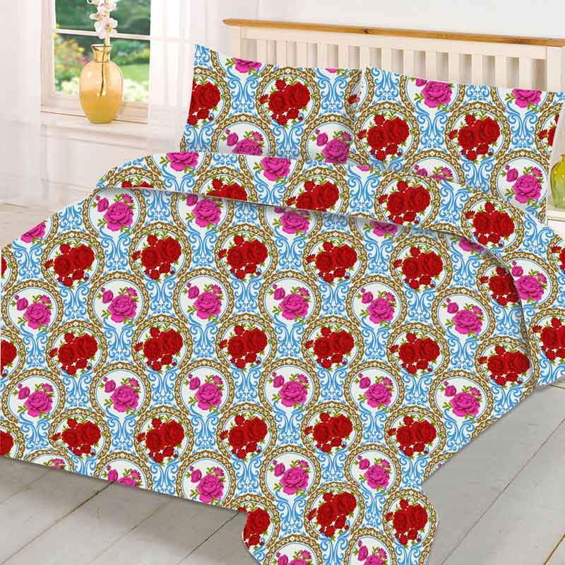 MGN Rock Rose Design 2-PCS Double Bed Sheet Set Bed Sheet MGN