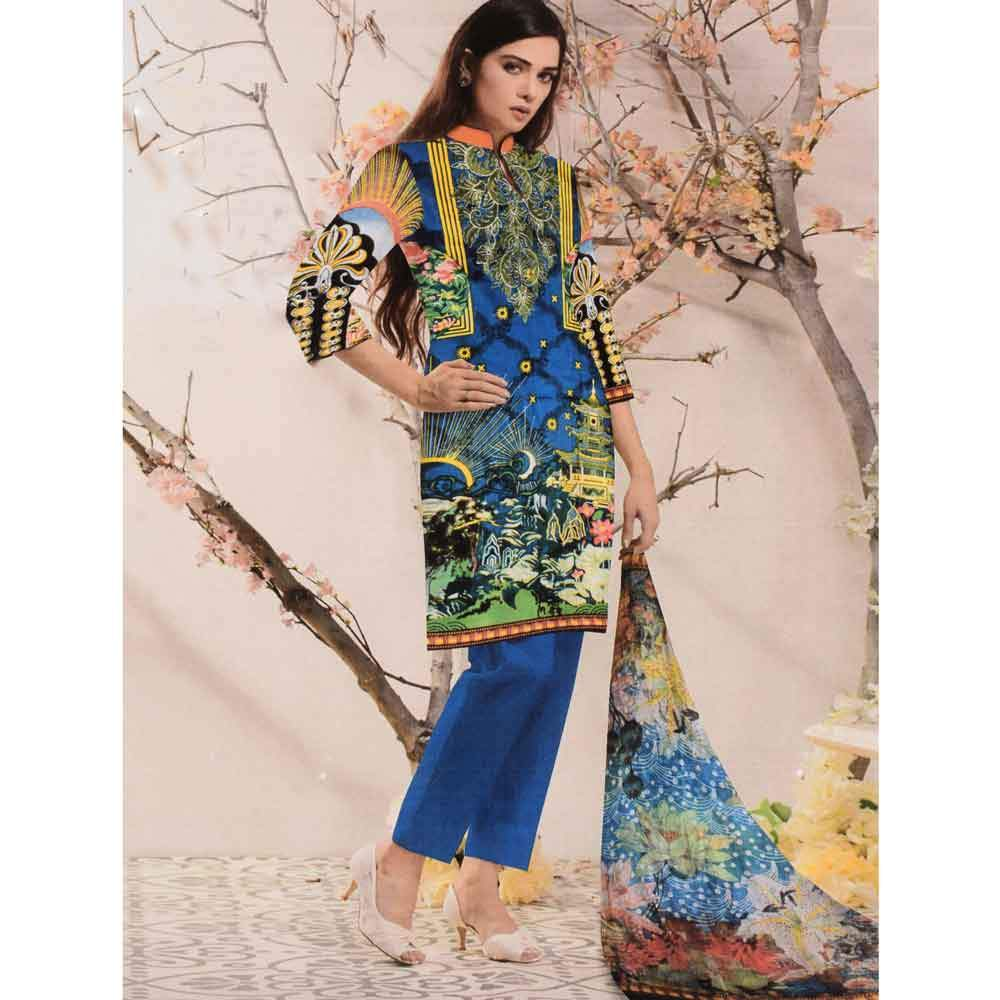 MGN Women's Weigela Embroidered Unstitched 3 Pcs Lawn Suit Women's Un Stitched Suit MGN Navy
