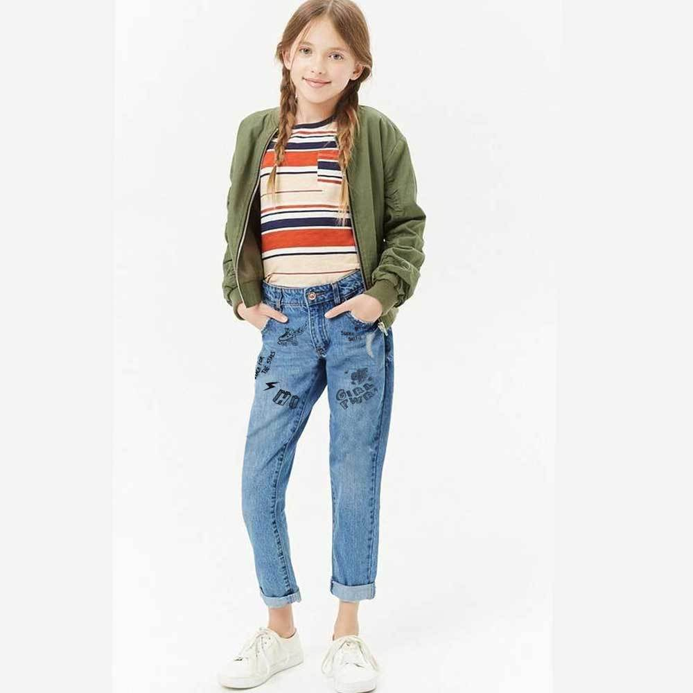 BZY Girl's Slight Distressed Printed Slim Fit Denim Girl's Denim SNR 134