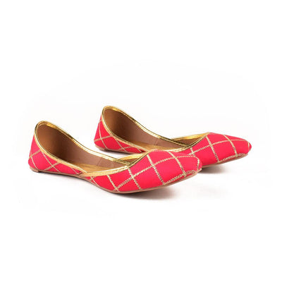 Embroidered Velvet Khussa Women's Shoes Hpral Magenta EUR 37