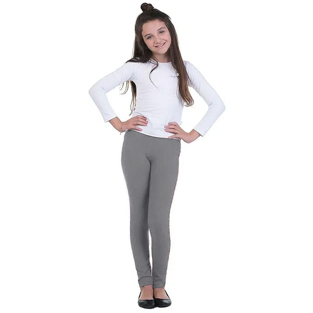 Girl's Basic Solid Color Stretch Leggings Girl's Trousers First Choice Heather Grey 2-3 Years