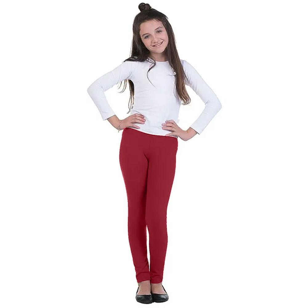 Girl's Basic Solid Color Stretch Leggings Girl's Trousers First Choice Burgundy 2-3 Years