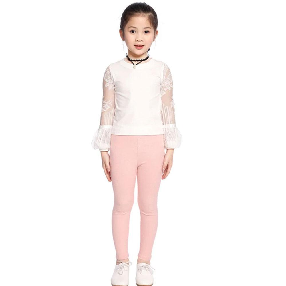 Girl's Basic Solid Color Stretch Leggings Girl's Trousers First Choice Pink 2-3 Years