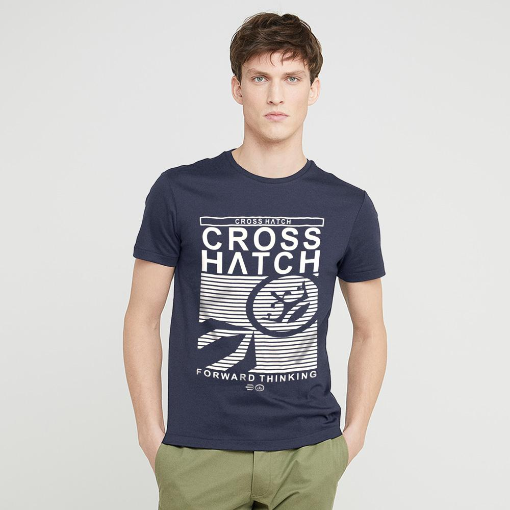 Cross Hatch Forward Thinking Short Sleeve Tee Shirt Men's Tee Shirt First Choice Light Navy White S