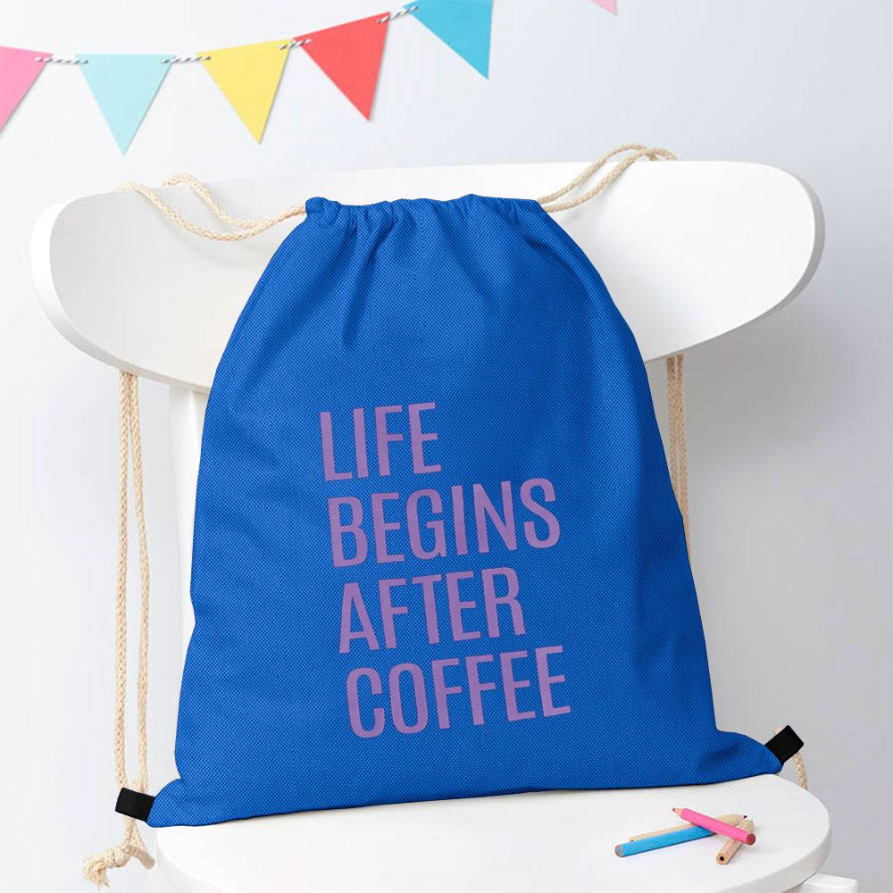 Polo Republica Life Begins After Coffee Drawstring Bag Drawstring Bag Polo Republica Blue Purple