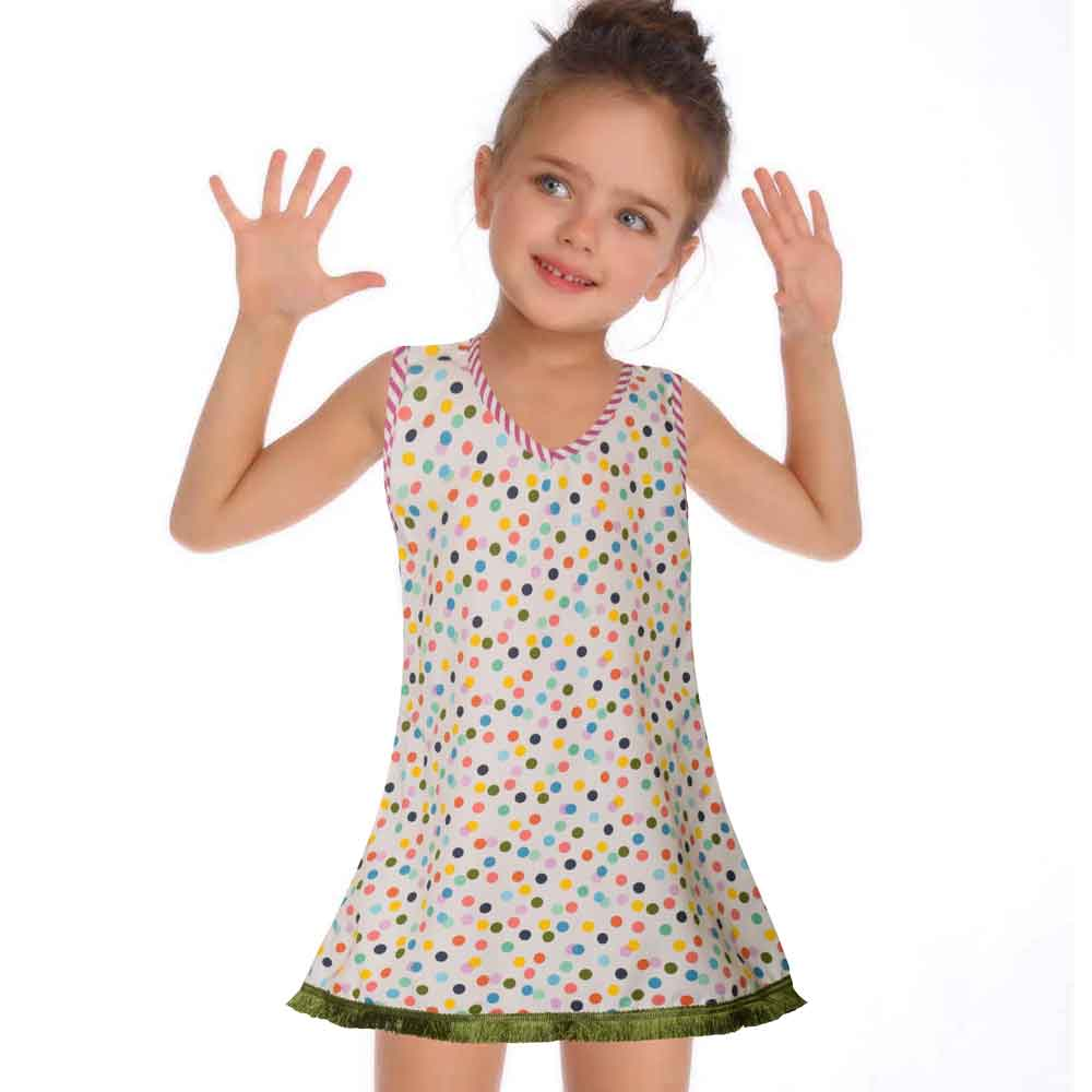 Safina Kid's Sunapee Polka Dots Sleeveless Frock Girl's Frock Bohotique Green 2-3 Years