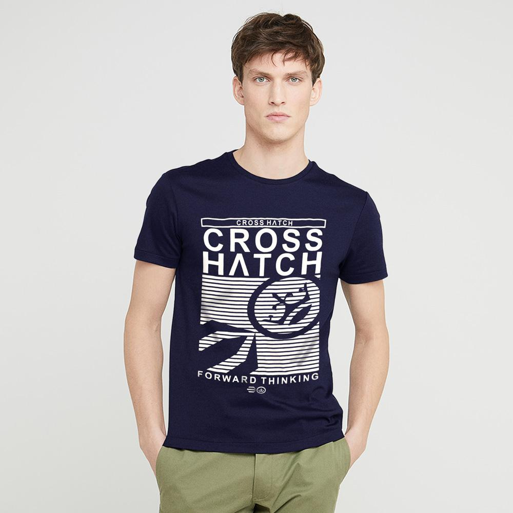 Cross Hatch Forward Thinking Short Sleeve Tee Shirt Men's Tee Shirt First Choice Dark Navy White S
