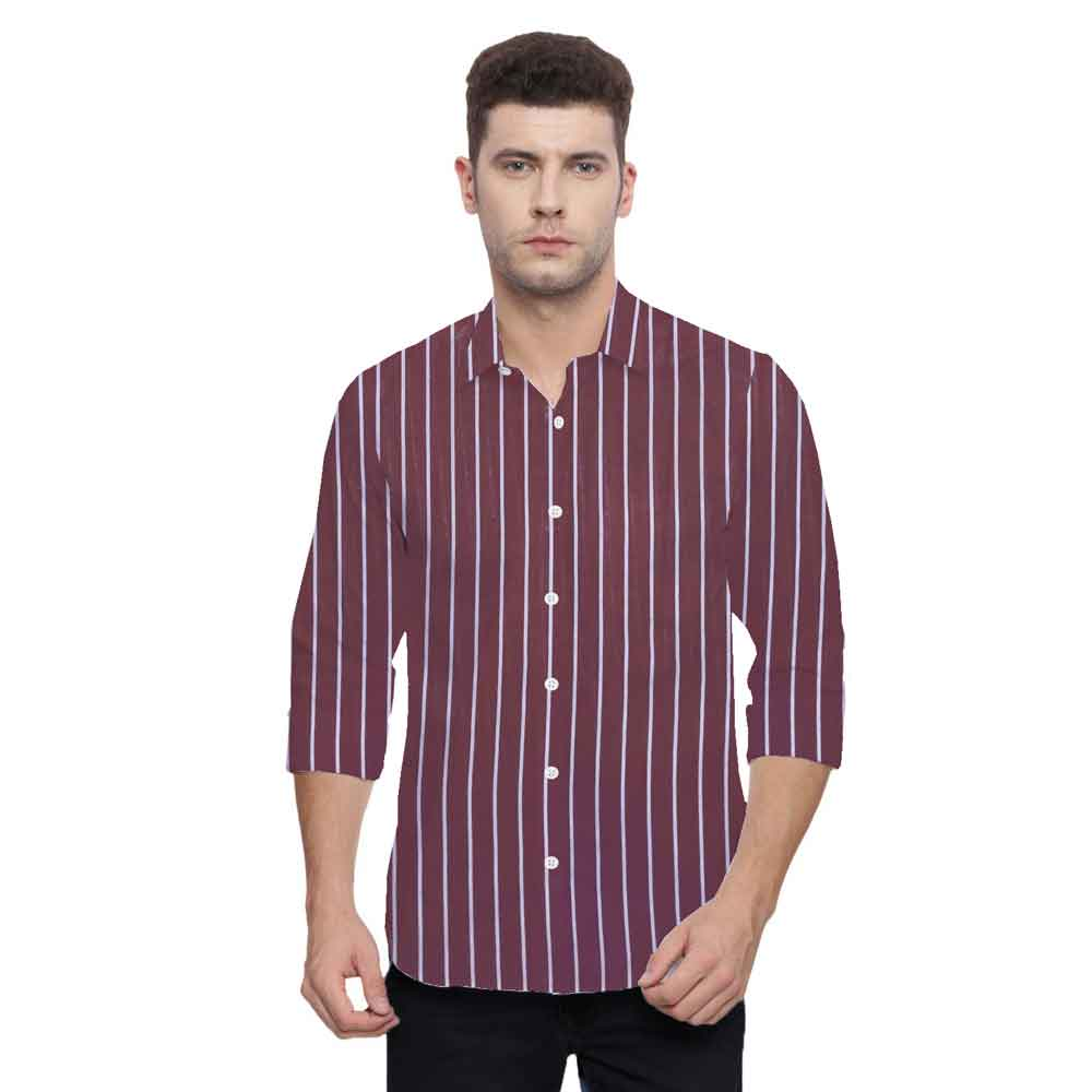 SRT Men's Frederico Striped Casual Shirt Men's Casual Shirt SRT Maroon S