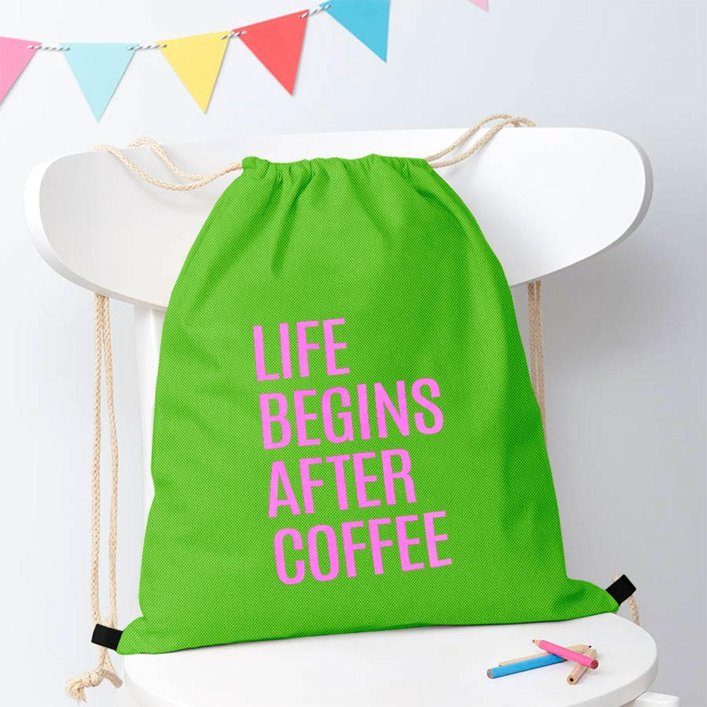 Polo Republica Life Begins After Coffee Drawstring Bag Drawstring Bag Polo Republica Dark Parrot Magenta