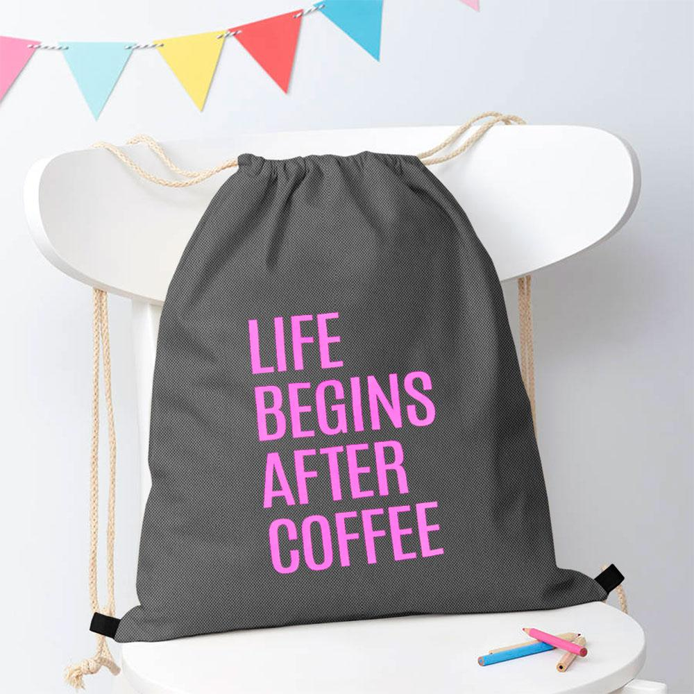 Polo Republica Life Begins After Coffee Drawstring Bag Drawstring Bag Polo Republica Graphite Magenta