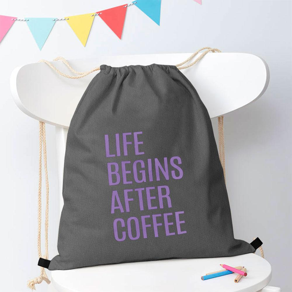 Polo Republica Life Begins After Coffee Drawstring Bag Drawstring Bag Polo Republica Graphite Purple
