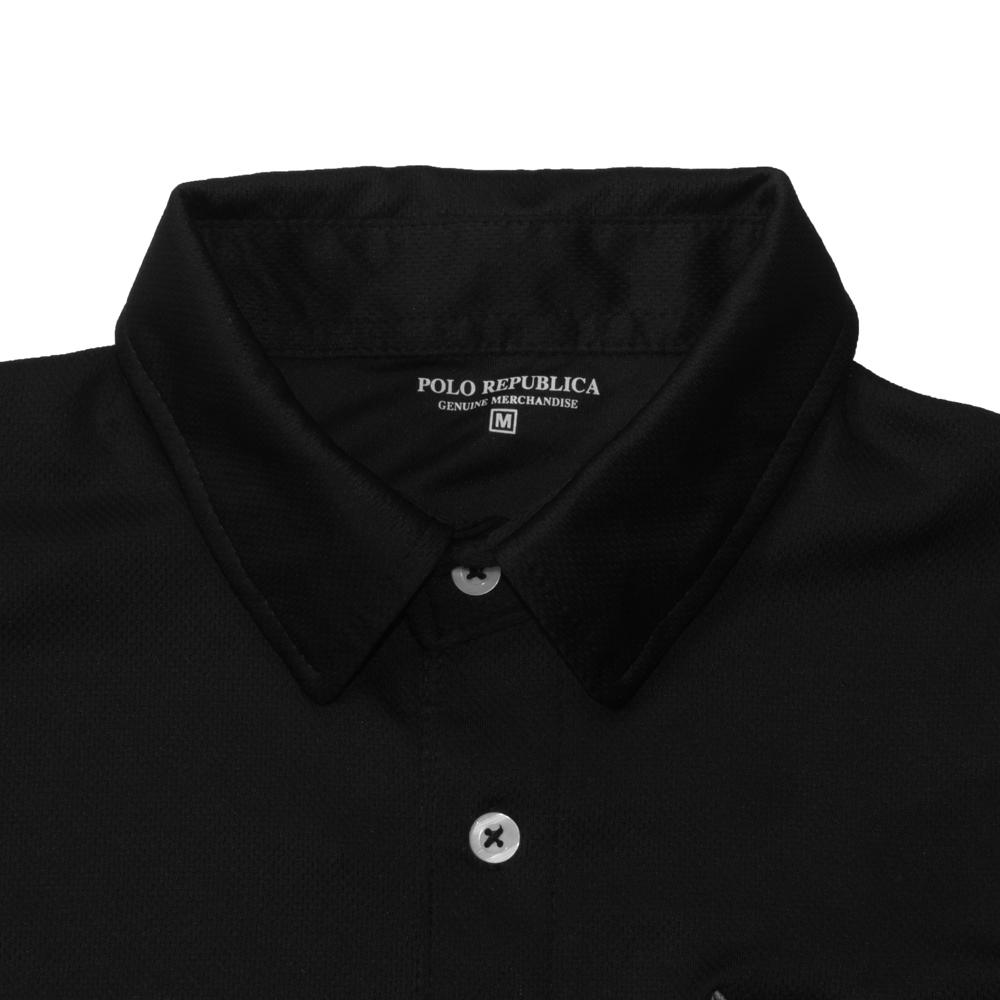 Polo Republica 85 Embroidered Polyester Mesh Men's Polo Shirt Men's Polo Shirt Polo Republica Black XS