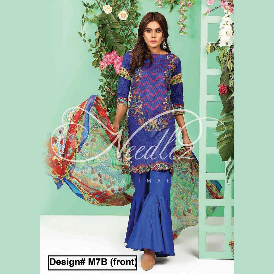 Needlez by Shalimar Unstitched Kato Misha Lawn Embroidery Suit
