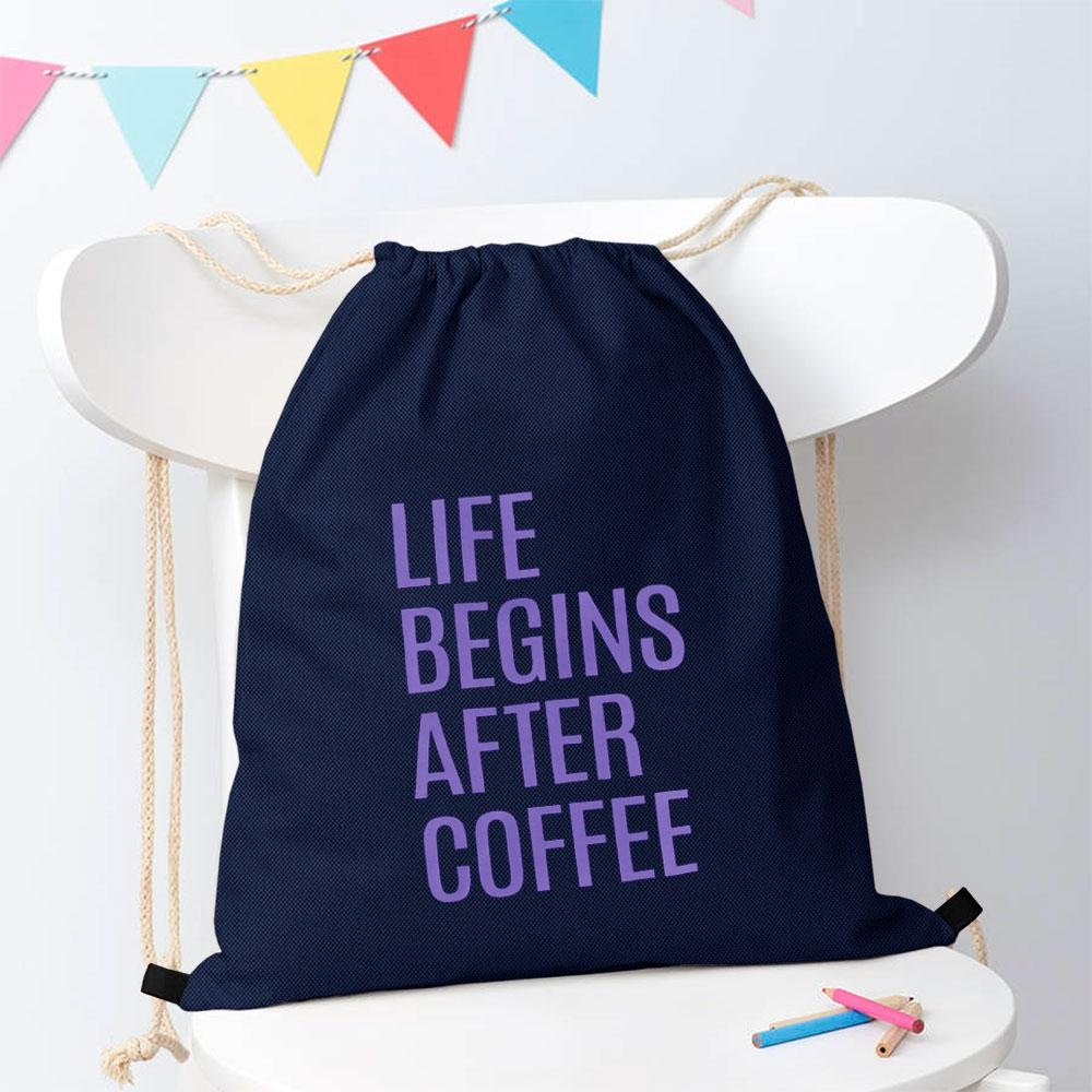 Polo Republica Life Begins After Coffee Drawstring Bag Drawstring Bag Polo Republica Navy Purple